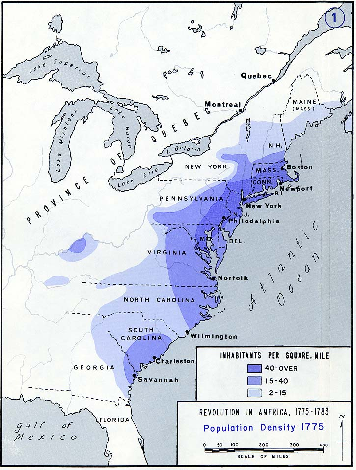 population density of the 13 american colonies in 1775