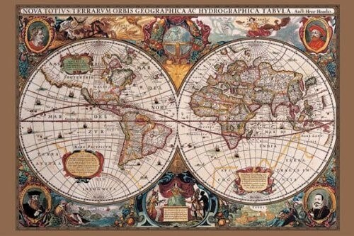 37 eye catching world map posters you should hang on your walls 17th century world map poster print gumiabroncs Image collections