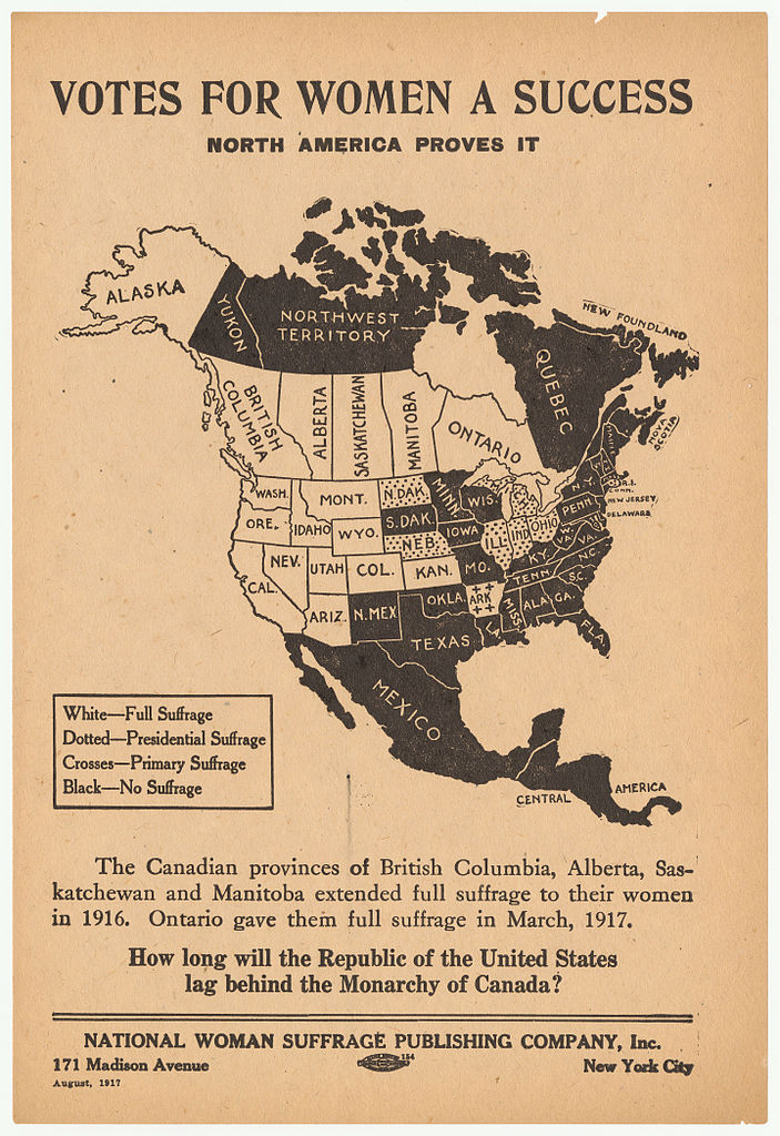 A 1917 Map of Women's Suffrage in North America