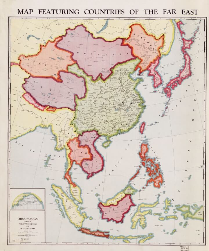 1932 Map Featuring Countries of the Far East