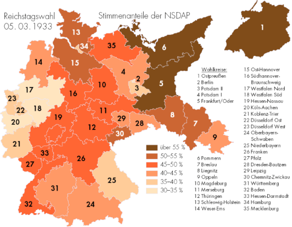 Where Germans Voted For The Nazis in 1933 – Brilliant Maps
