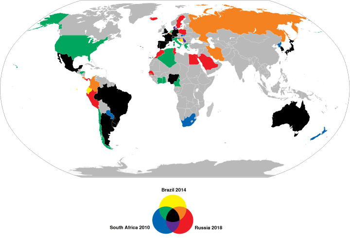 Countries That Qualified For The 2010, 2014 & 2018 FIFA World Cups