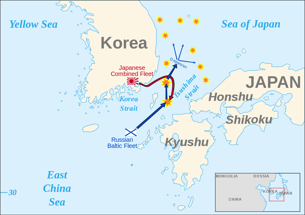 Battle of Tsushima Map 1905