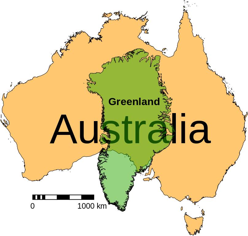 Australia Greenland size comparison