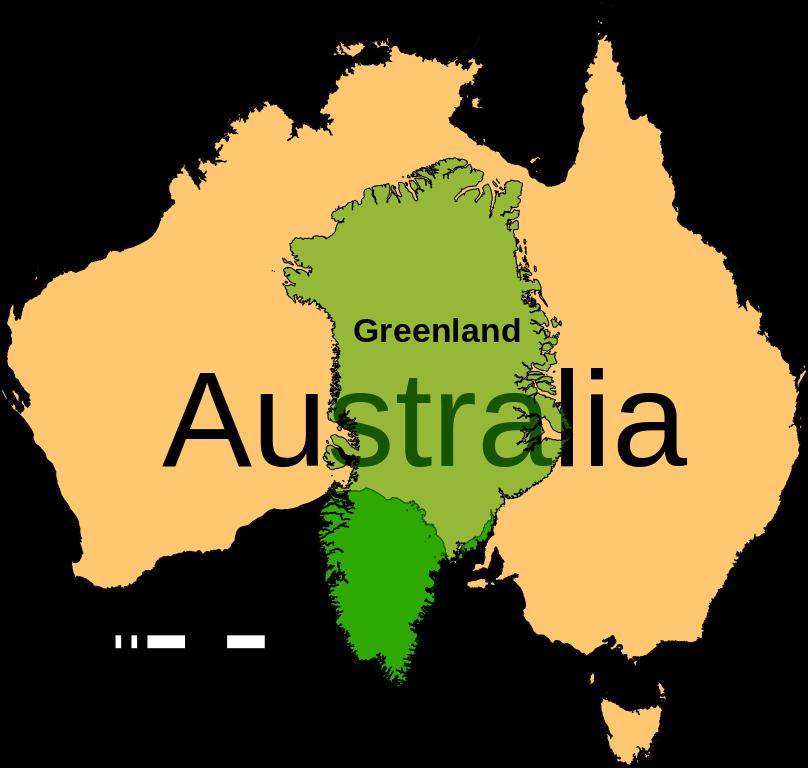 Australia Greenland size comparison