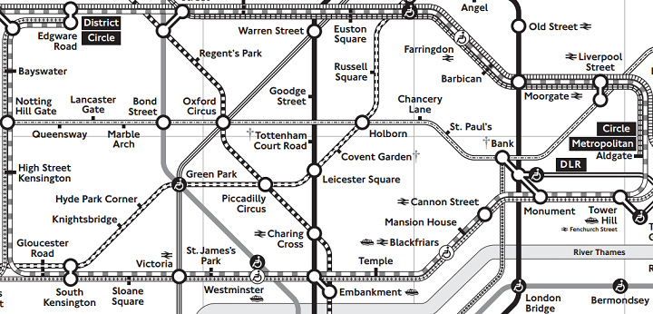 black and white tube map