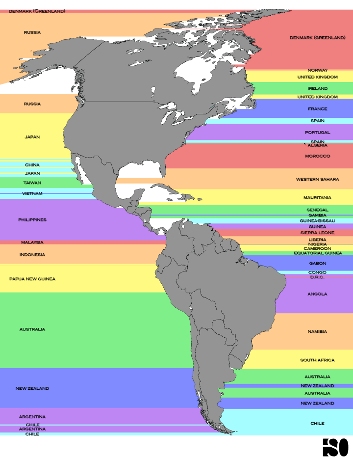 Which Countries Are Due East And West Of The Americas?