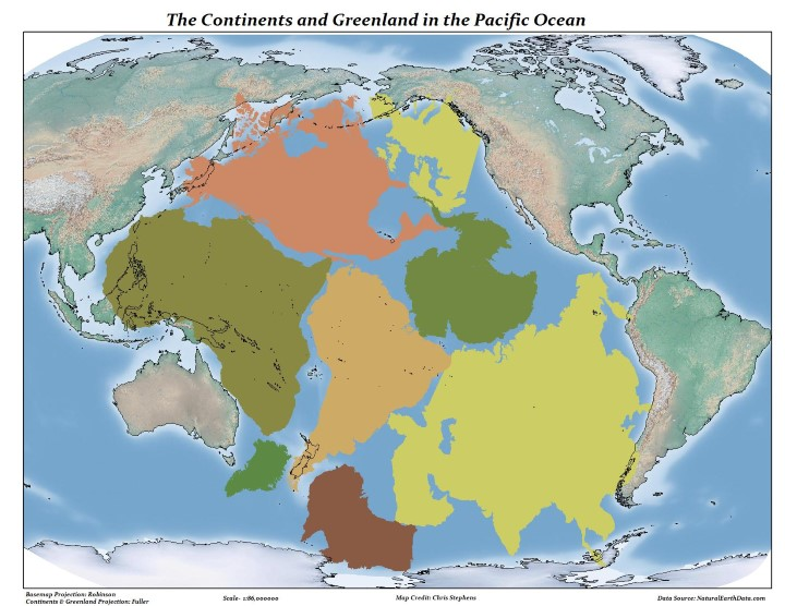 All land on earth compared to pacific ocean