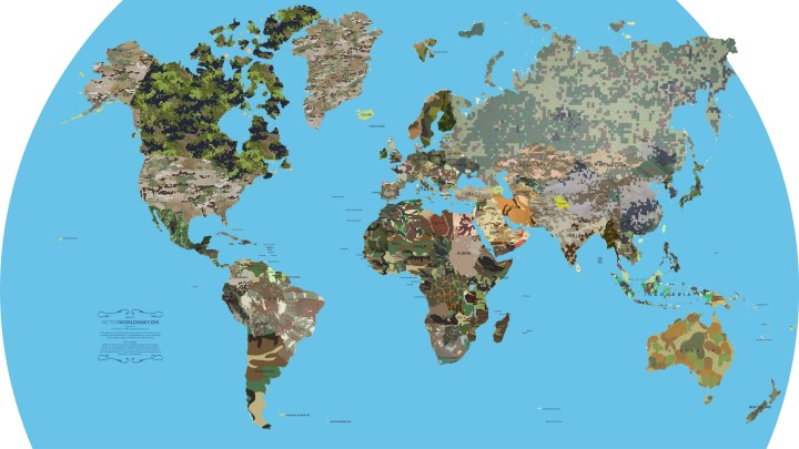 camouflage world map