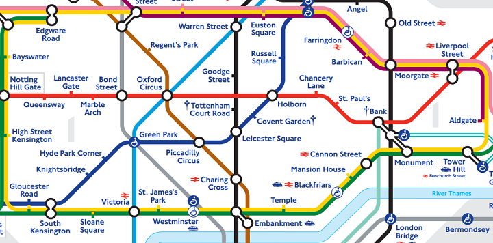 standard colour tube map