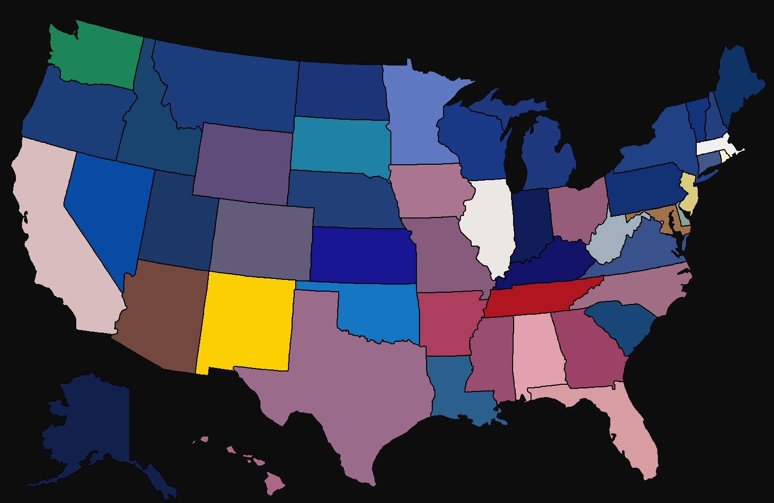 average colour hue of US state flags