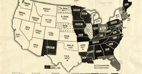 1919 Women's Suffrage Victory Map, Published The Year Before The...