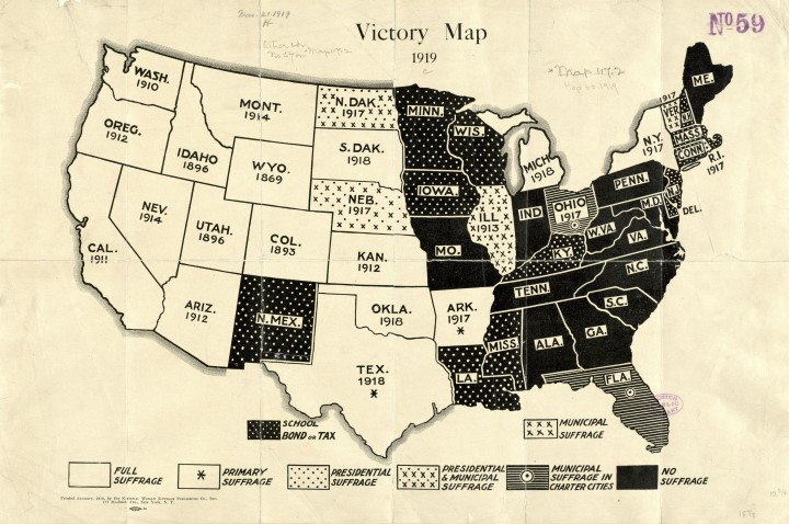 1919 Women's Suffrage Map
