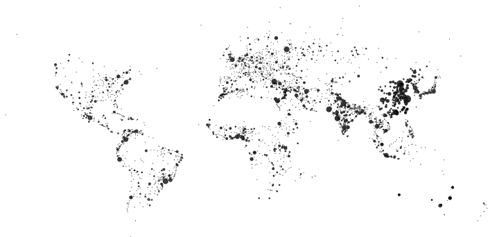 100,000 person cities no world map