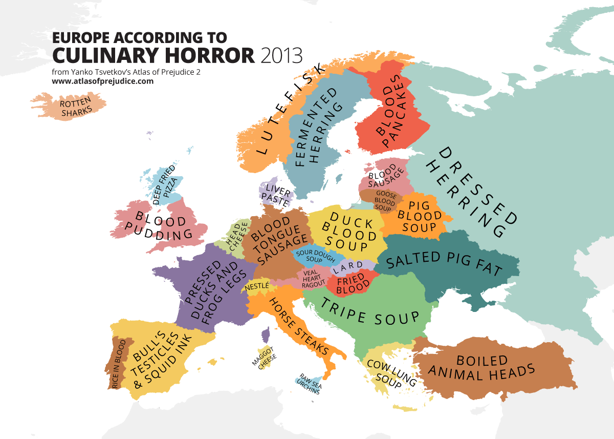culinary horrors of Europe Map
