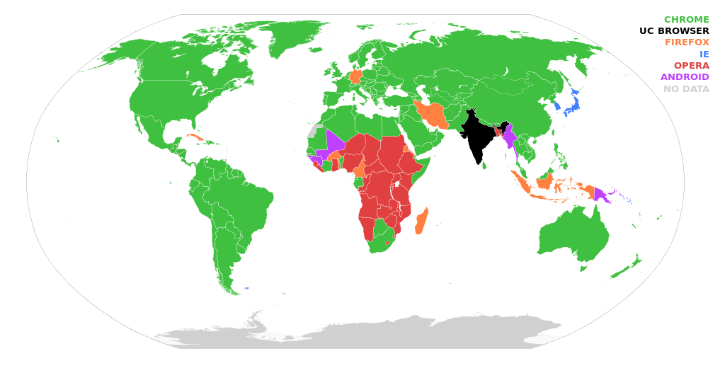 Countries by most_used web browser in July_2014
