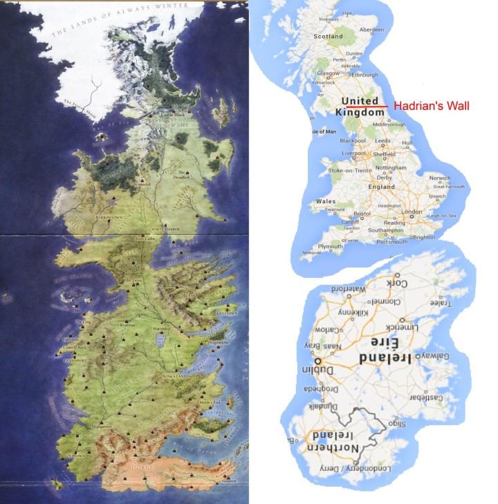 game of thrones westeros is really just britain an inverted ireland brilliant maps