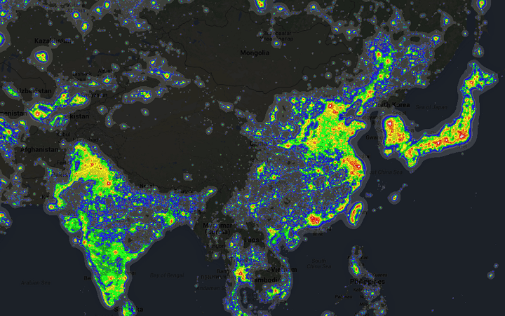 Light pollution around the world brilliant maps asia light pollution gumiabroncs Image collections