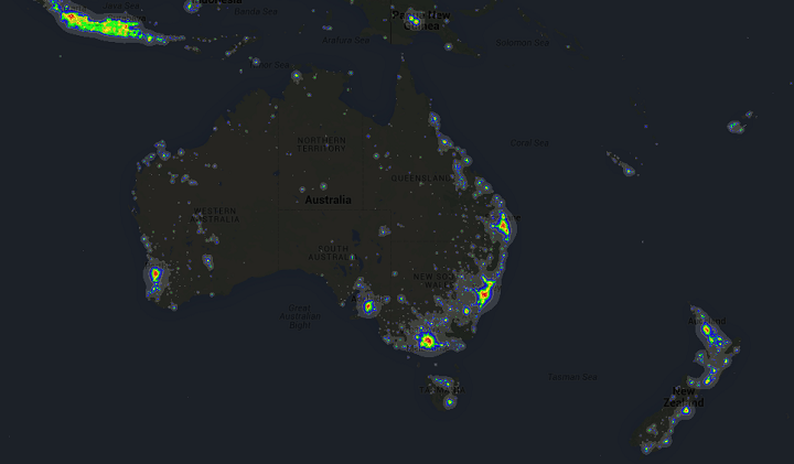 Light Pollution Around The World Brilliant Maps - Us light pollution map