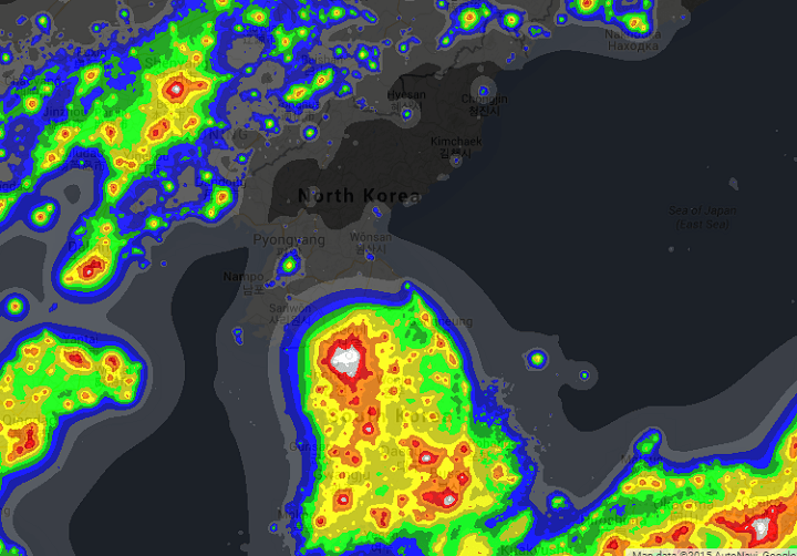 North Korea Light Pollution Map