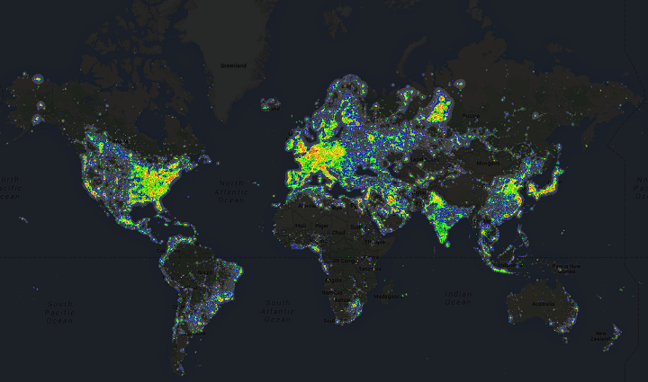 Light pollution around the world brilliant maps world light pollution gumiabroncs Choice Image