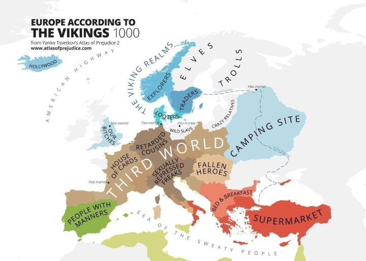 Vikings via of Europe in 1000AD