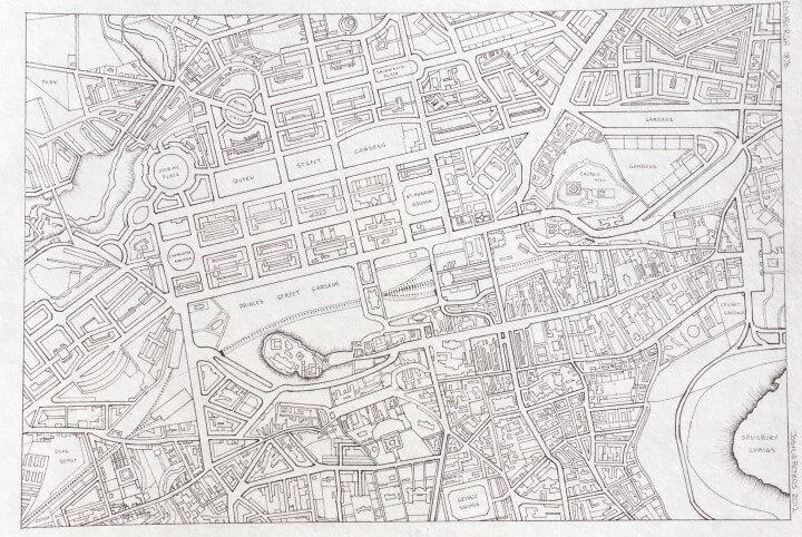 Hand drawn map of Edinburgh
