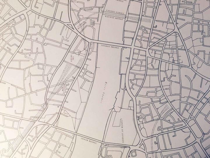hand drawn map of London showing London Bridge
