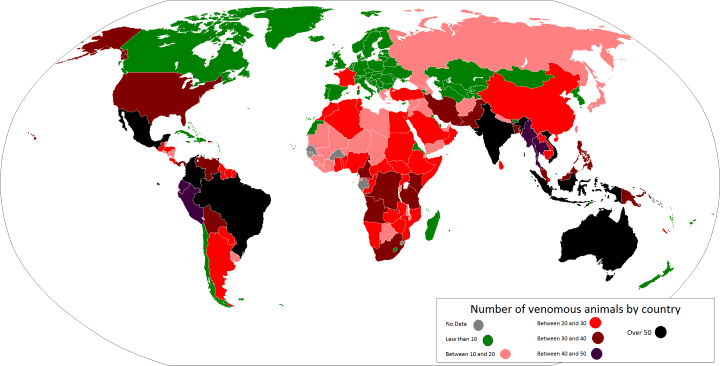 Number of venomous animals in countries around the world