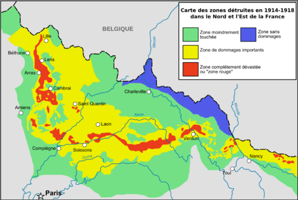 Map Of France Zones.Zone Rouge An Area Of France So Badly Damaged By Ww1 That People