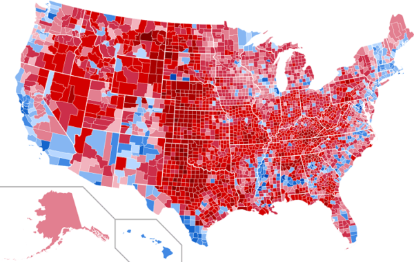 2016 US Presidential Election Map By County & Vote Share ...