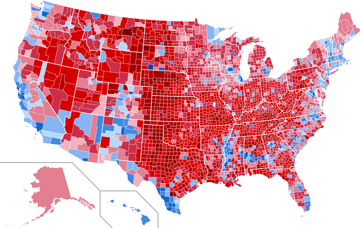 US Presidential Election Map By County Vote Share - Us presidential election red blue map
