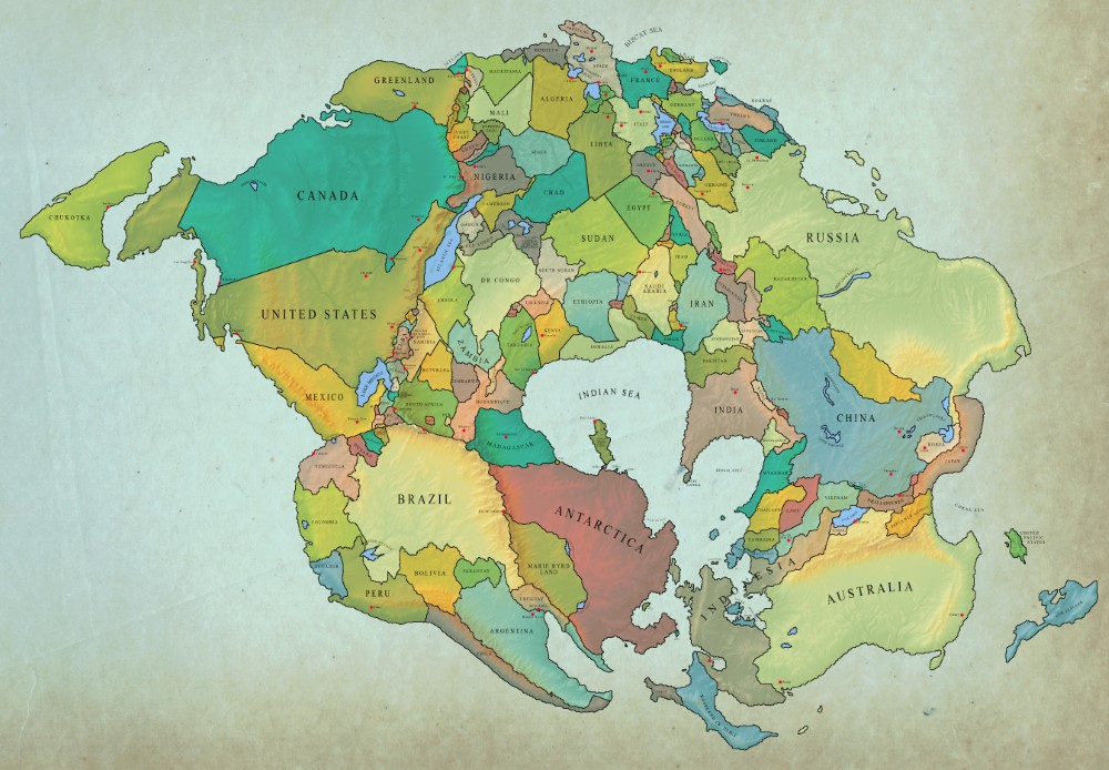 How The World Might Look In 250 Million Years With Current International Borders