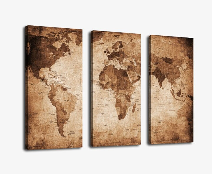 3 Panel Large World Map Pictures Print on Canvas