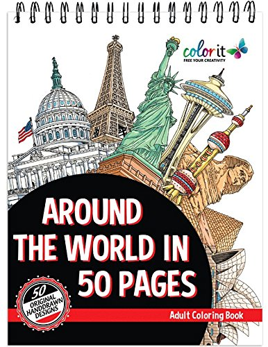 Description Around The World In 50 Pages Is A Coloring Book That Will Take You On An Architectural Adventure Travel With Each Stroke Of Your Colored Pen Or