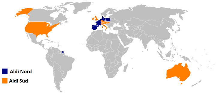 The world divided by Aldi