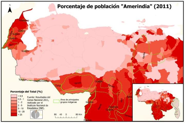 Amerindia population of Venezuela