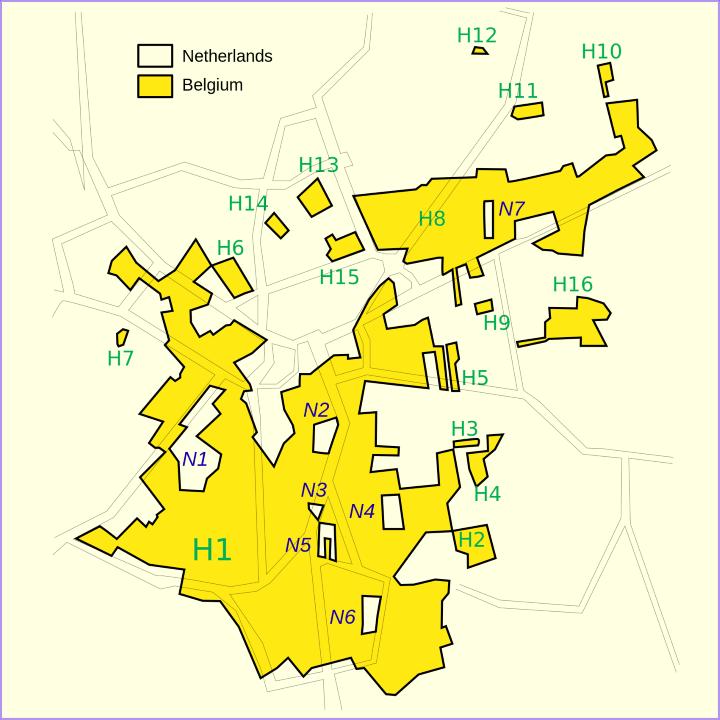 The Border Between Belgium & The Netherlands at Baarle-Hertog/Baarle-Nassau