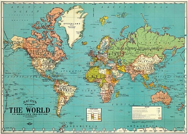 37 eye catching world map posters you should hang on your walls bacons standard map of the world gumiabroncs Gallery