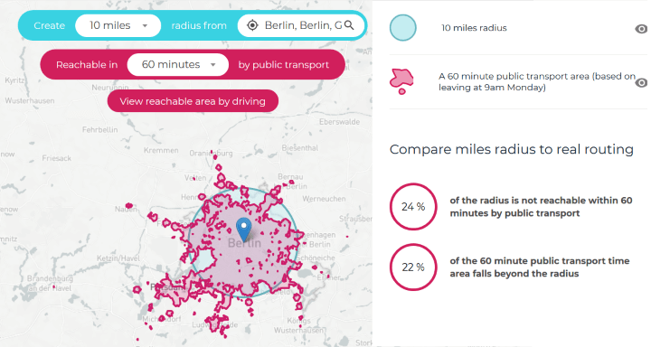 Berlin Public Transport Travel Time Map