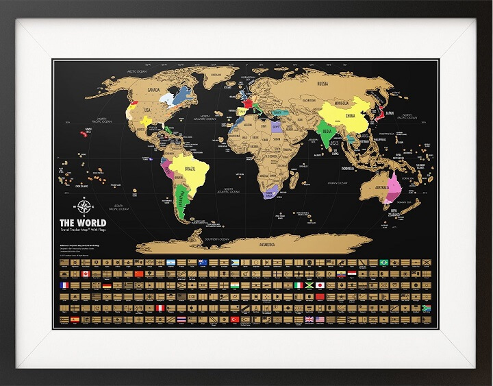 Black & Gold World Travel Tracker Map