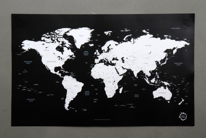 37 eye catching world map posters you should hang on your walls black and white world map gumiabroncs Choice Image