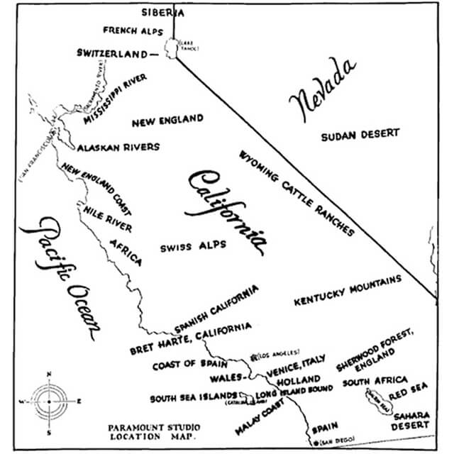 1927 Paramount Studio Map Of California Filming Locations That Look Like Foreign Countries & Regions