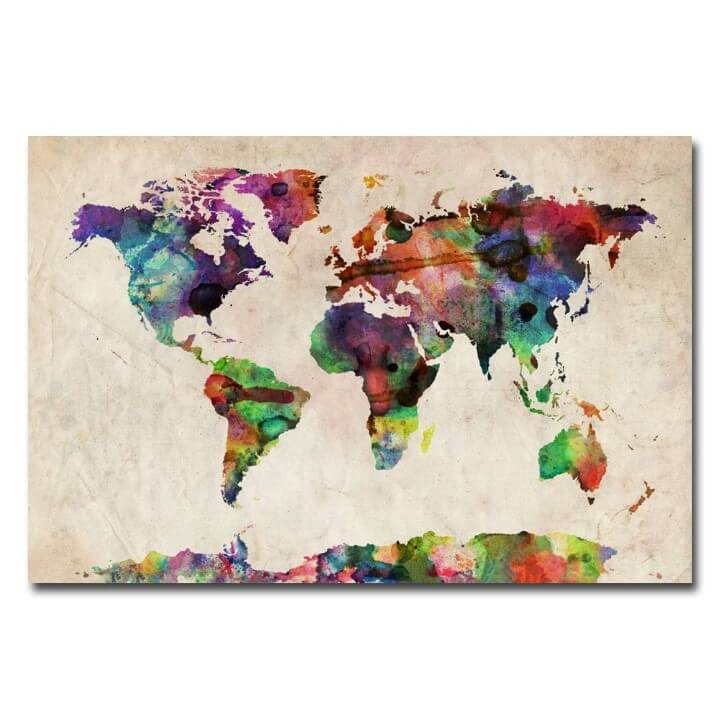 37 eye catching world map posters you should hang on your walls canvas watercolor world map gumiabroncs Choice Image