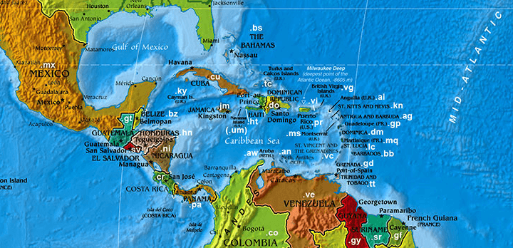 Domain name extensions in central America and the Caribbean