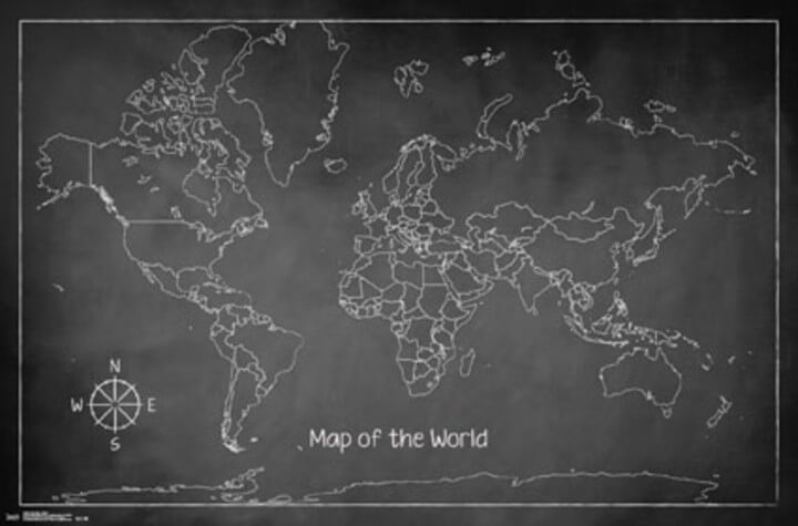 chalk map of the world blackboard art print