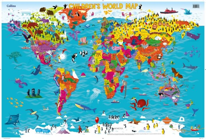 37 eye catching world map posters you should hang on your walls collins childrens world map gumiabroncs Choice Image