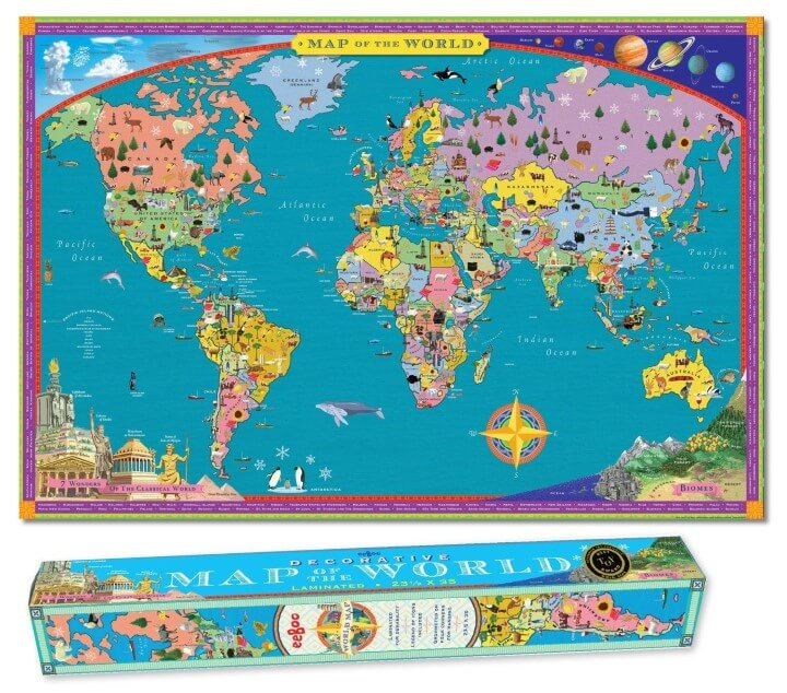 37 eye catching world map posters you should hang on your walls eeboo world map gumiabroncs Choice Image