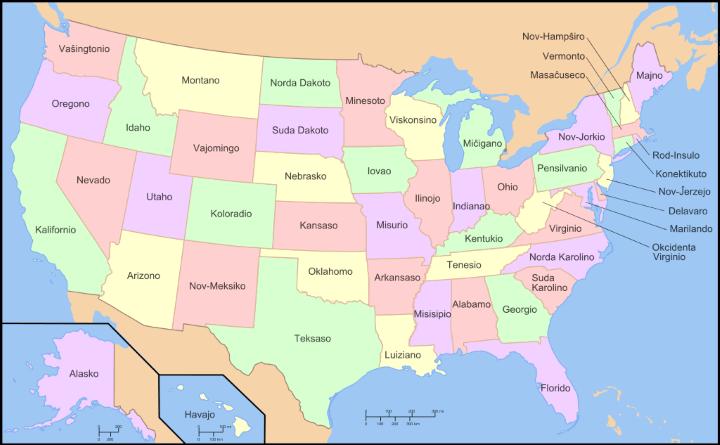 Map of The United States in Esperanto