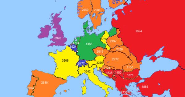 Gdp Per Capita In Europe In 1890 In 2017 Brilliant Maps
